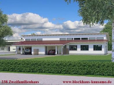 Blockhaus als Doppelhaus - Zweifamilienhaus - Blockhaus bauen - Holzbau