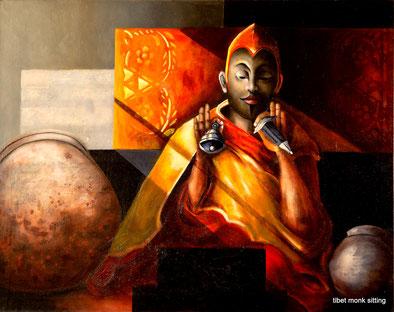 Sitting Monk, oil on canvas, 1mx1m20.   Prijs: 1495 euro inc btw