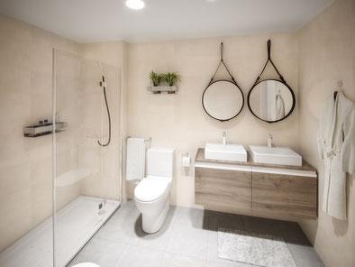 Render 3D de aseo para Urbas. Proyectos residenciales 3D en Madrid para Fugu Studio.