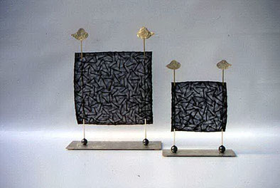 object,- silver, hematite and vegetable fiber paper by Ruth Moro.  Zoltan Locarno