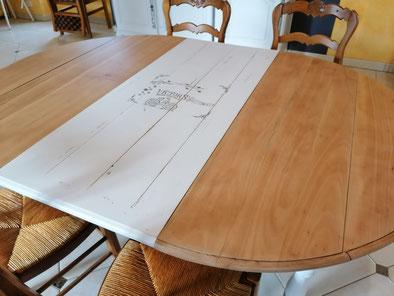 relooking de meuble le mans sarthe le perche table merisier relooké blanc bois