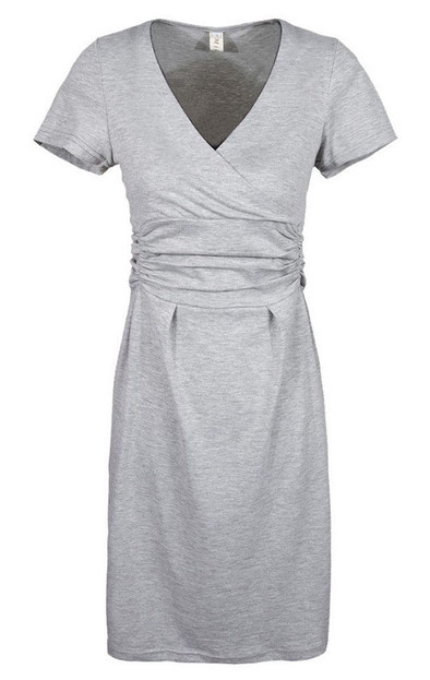 SHORT SLEEVE MATERNITY DRESS LIGHT GRAY