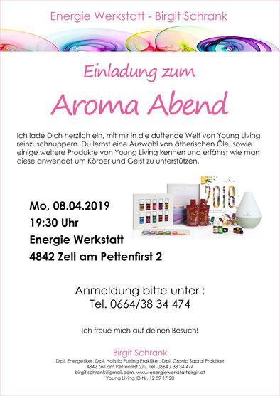 Einladung Aroma Abend, Montag 08.04.2019