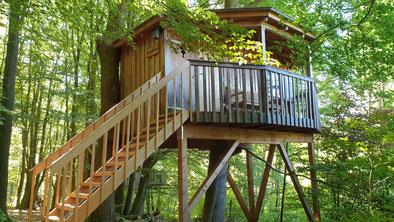 Baumhaus mit überdachten Balkon im Wald bei Sonnenschein.