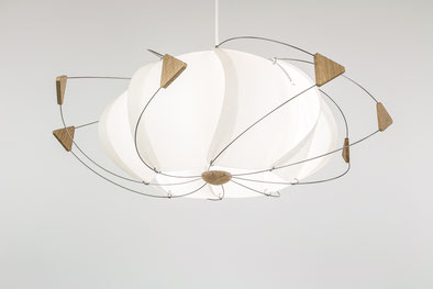 luminaire design papier bois volute