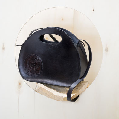halbrunde schwarze  Leder Handtaschen