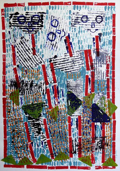 Unbeschwerte Frauen: Materialdruck auf Papier, 60 x 42 cm, 2008