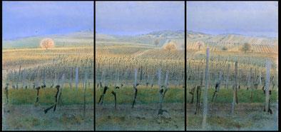 Weingärten, (Vineyard) Triptychon, 100x70,100x70,100x100cm