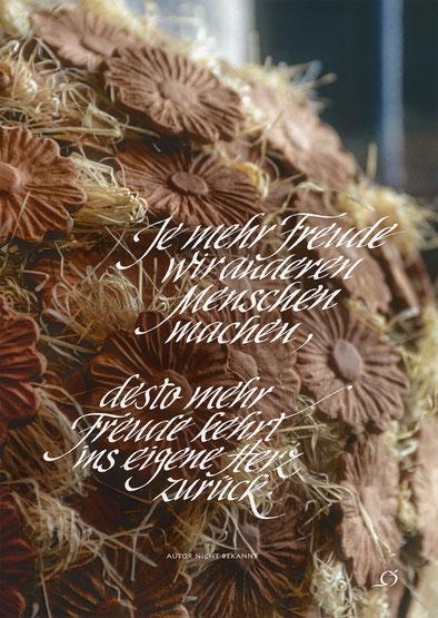 """Nr. 7 /HEINZ GRÜNAUER / """"Je mehr Freude wir anderen..."""", Foto auf Leinwand, Text im Bild, 40x60cm, 280,-€"""