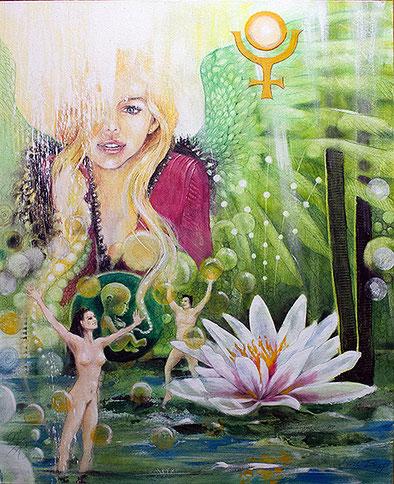 Die Offenbarung / Sakis-Tarot, gemalt von Jopie Bopp, Leinwandbild Tarotkarte Die Offenbarung das Aeon  / Gericht