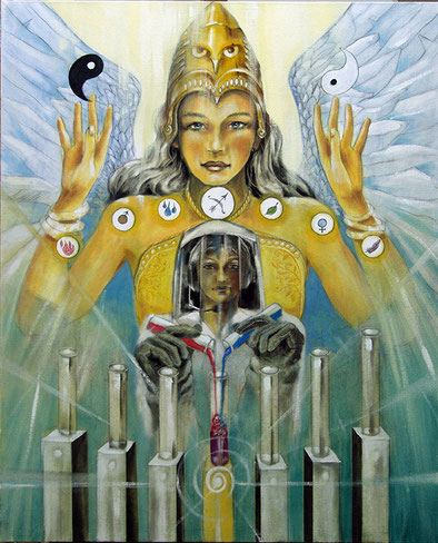 Die Mäßigkeit (Alchemie) / Sakis-Tarot, gemalt von Jopie Bopp, Leinwandbild Tarotkarte die Mäßigkeit (Alchemie)