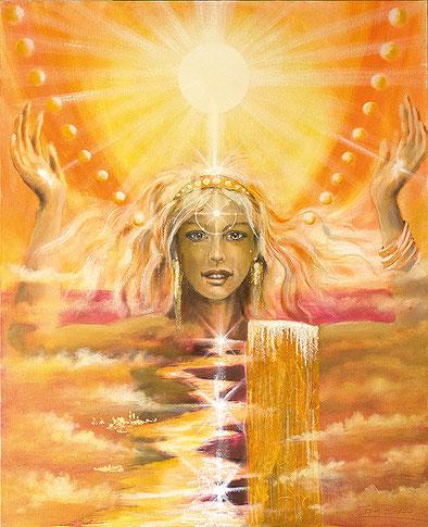 Die Sonne / Sakis-Tarot, gemalt von Jopie Bopp, Leinwandbild Tarotkarte Die Sonne