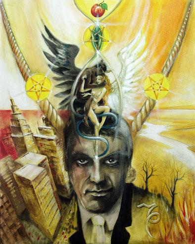 Der Teufel / Sakis-Tarot, gemalt von Jopie Bopp, Leinwandbild Tarotkarte die Mäßigkeit (Alchemie)