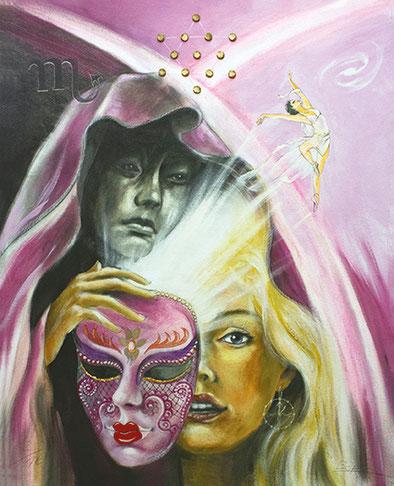 Der Tod / Sakis-Tarot, gemalt von Jopie Bopp, Leinwandbild Tarotkarte der Tod