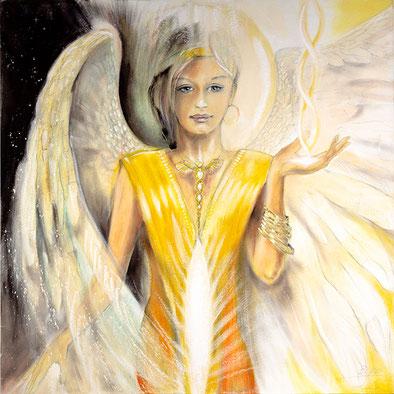 Wandbild Engelbilder, Engel der Botschaft, gemalt, spirituelle Bilder, Leinwandbilder, Kunstdrucke, Poster Jopie Bopp