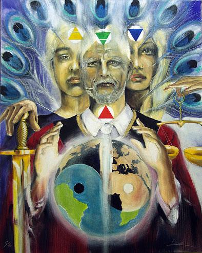 Die Gerechtigkeit / Sakis-Tarot, gemalt von Jopie Bopp, Leinwandbild Tarotkarte