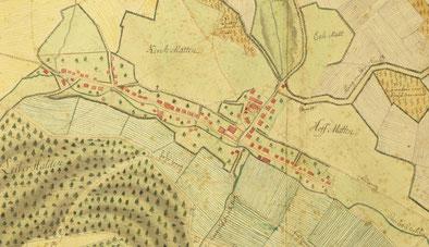 Das im Staatsarchiv Aarau aufbewahrte Exemplar des 1775 gezeichneten Garnie-Planes (Ausschnitt)
