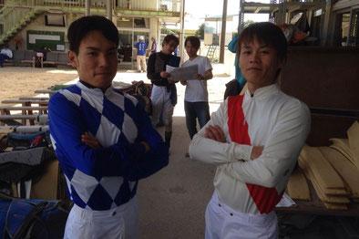 1着同着で600勝達成!!吉井友彦騎手(左)と山下雅之騎手(右)そして、真ん中は???