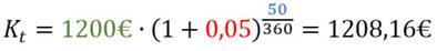 Beispiel für die Berechnung des Tageszinses mit Zinseszinsen