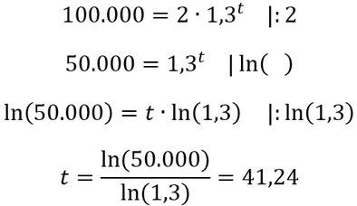 Lösung zur Beispielaufgabe zur Berechnung der Zeit.