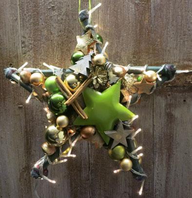 tern, Türkranz, leuchtstern, fenster-deko, handgefertigt, grün, gold