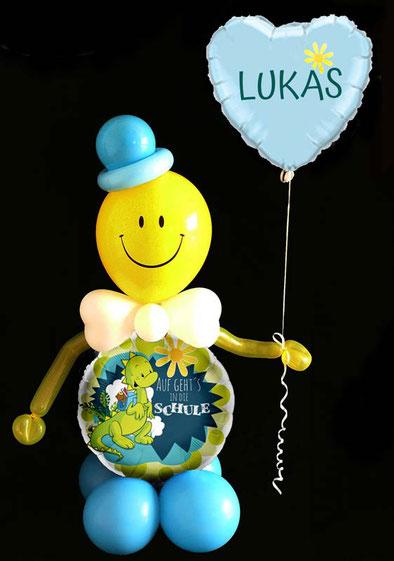 Luftballon Ballon Heliumballon Herzballon Herz Folienballon Männchen Smiley witzig Auf gehts in die Schule Schulbeginn Anfang Schulanfang 1. Klasse ABC-Schütze Schulbeginn Versand verschicken Mitbringsel Gruß Geschenk Idee  Überraschung Junge Mädchen