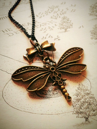 Steampunk Dragonfly Necklace with a Bronze Bow