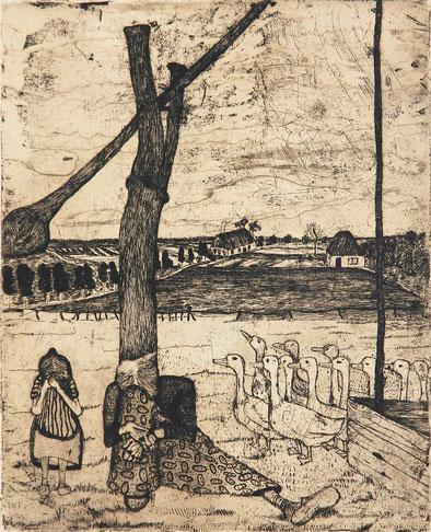 Paula Modersohn-Becker (1876-1907): Die Gänsemagd, Radierung und Aquatinta, 1899, 25,1:20,3 cm