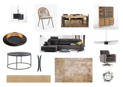 Planche d'ambiance salon chic industriel beige or bois métal Vertigo