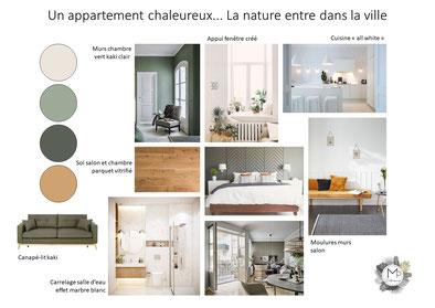 Planche tendance appartement Bordeaux ambiance nature vert kaki beige bois blanc