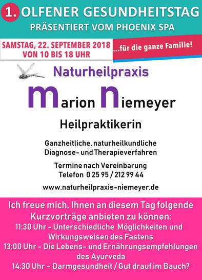 Vorträge von Marion Niemeyer zum 1. Olfener Gesundheitstag
