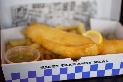 Fish & Chips am Hafen in Liverpool - England