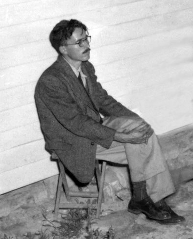 Laurie sitting outside Meher House, Sydney in the mid-1950s