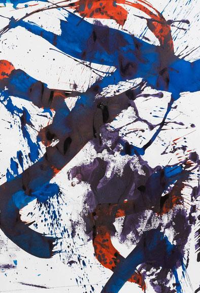 """Franz Grabmayr, """"Tanzblatt, 2000-2012,Tusche auf Fabriano, 100 x 70 cm"""