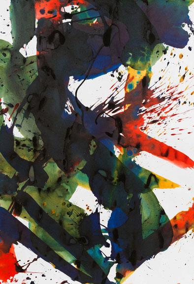 """Franz Grabmayr, """"Tanzblatt, 2000-2012, Tusche auf Fabriano, 100 x 70 cm"""