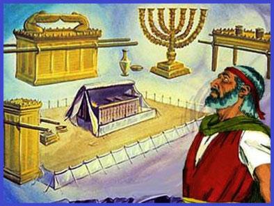 Moïse monte alors dans la montagne pendant 40 jours et 40 nuits et y reçoit toutes les instructions divines pour la construction du Tabernacle, de son mobilier et ses ustensiles ainsi que pour les rituels associés au culte de Jéhovah.