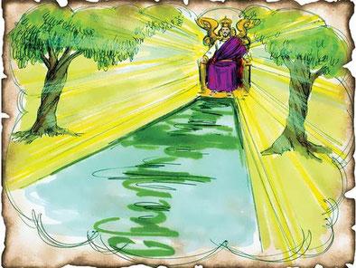 L'eau est associée à la vie. La voix de Jésus : c'est-à-dire son enseignement donne la vie éternelle et rafraîchit celui qui a soif de paix et de justice. Cette eau est donnée gratuitement.
