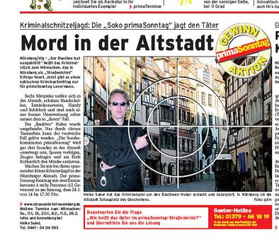 """Zeitungsartikel im Prima-Sonntag vom Februar 2009: """"Mord in der Altstadt""""- Quelle: Prima-Sonntag, Nürnberg"""