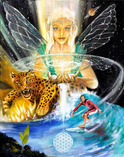 Das Universum / Sakis Tarot, gemalt von Jopie Bopp Tarotkarte Das Universum