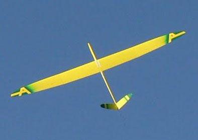 planeur radiocommandé Alliaj HM Aeromod jaune et vert, en vol