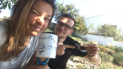 Chris und ich beim morgendlichen Kaffee