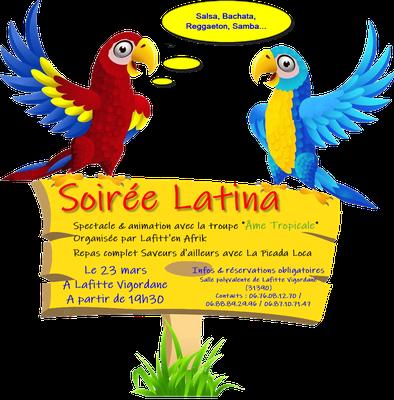 Soirée Latina le 23 mars à Lafitte Vigordane