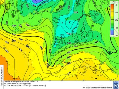 Höhenwetterkarte HNz GWL  | Bildquelle: Deutscher Wetterdienst