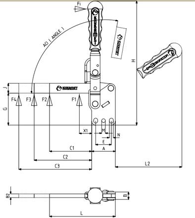 KUKAMET Horizontalspanner bzw. Waagrechtspanner oder Kniehebelspanner mit massivem Haltearm u. senkrechtem Fuß