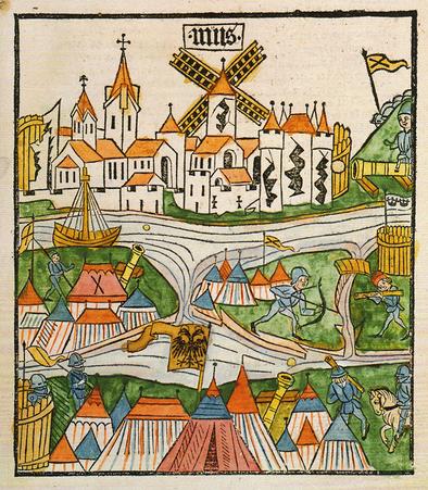 Belagerung von Neuss Holzschnitt Conradius Pfettisheim