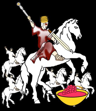 Jésus-Christ, l'archange Michel, est à la tête des armées célestes composées de myriades d'anges. Tous chevauchent des chevaux blancs évoquant une guerre juste menée au nom de Dieu.  Le chef des anges porte plusieurs noms : « Fidèle et Véritable »
