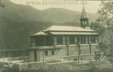 Original Fotografie der Heiligengeistkirche Javorca an der ehemaligen Isonzofront bei Tolmin an der Soča