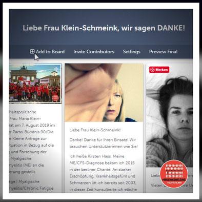 Kudosboard für Frau Klein-Schmeink: #MillionsMissing Deutschland vor dem Brandenburger Tor, ME/CFS Patienten posten Fotos und ihre Danksagung
