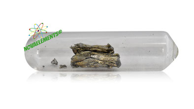 shiny Samarium metal crystal in glass ampoule