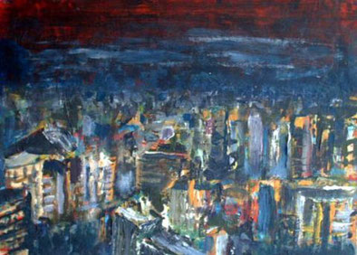 Stadtlandschaft bei Nacht, Dispersion auf Papier, 51 cm x 38 cm, 1992